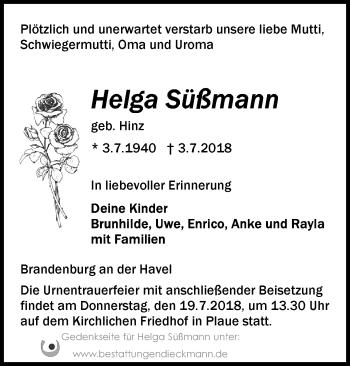 Traueranzeige Helga Süßmann