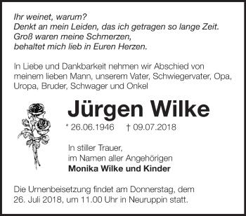 Traueranzeige Jürgen Wilke