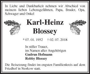 Traueranzeige Karl-Heinz Blossey