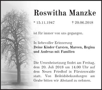 Traueranzeige Roswitha Manzke