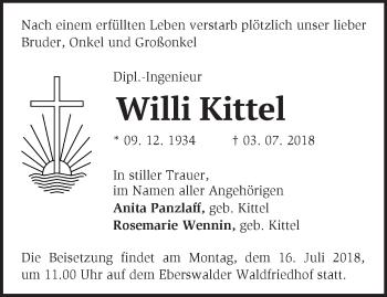 Traueranzeige Willi Kittel