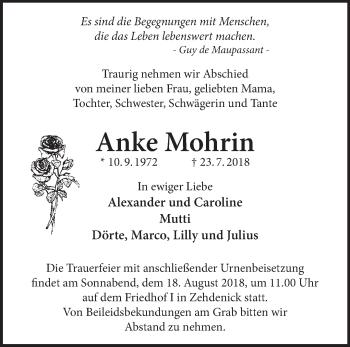 Traueranzeige Anke Mohrin