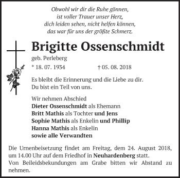 Traueranzeige Brigitte Ossenschmidt