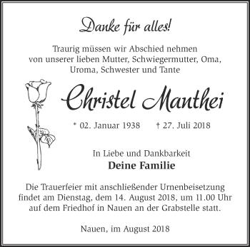 Traueranzeige Christel Manthei