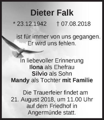 Traueranzeige Dieter Falk
