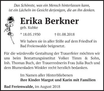 Traueranzeige Erika Berkner