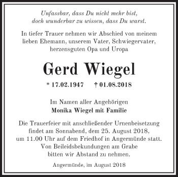 Traueranzeige Gerd Wiegel