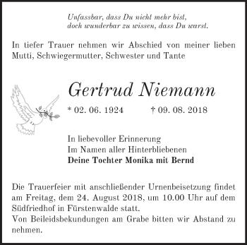 Traueranzeige Gertrud Niemann
