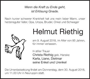 Traueranzeige Helmut Riethig