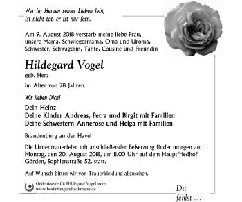 Traueranzeige Hildegard Vogel