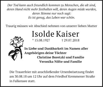 Traueranzeige Isolde Kaiser