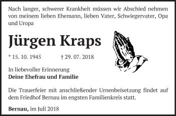 Traueranzeige Jürgen Kraps