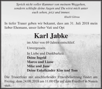 Traueranzeige Karl Jabke