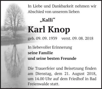 Traueranzeige Karl Knop
