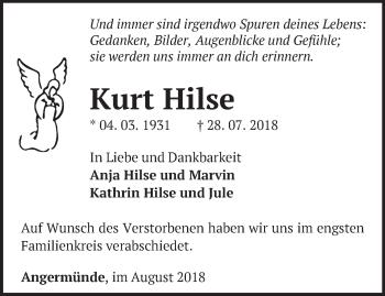 Traueranzeige Kurt Hilse