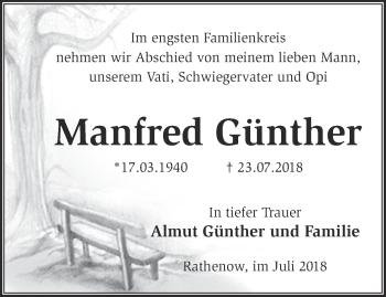 Traueranzeige Manfred Günther