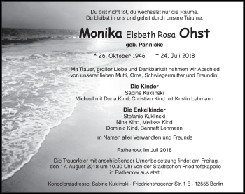 Traueranzeige Monika Elsbeth Rosa Ohst