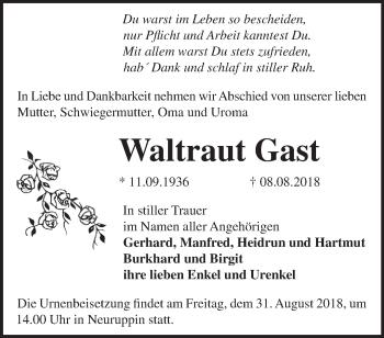 Traueranzeige Waltraut Gast