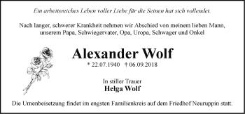Traueranzeige Alexander Wolf