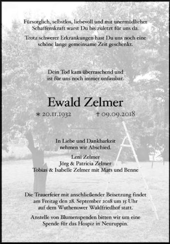 Traueranzeige Ewald Zelmer