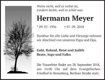 Traueranzeige Hermann Meyer