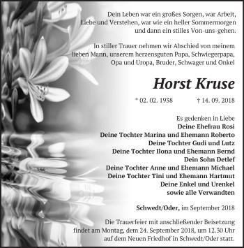 Traueranzeige Horst Kruse