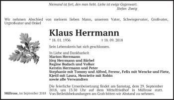 Traueranzeige Klaus Herrmann