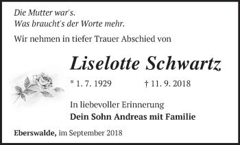 Traueranzeige Liselotte Schwartz