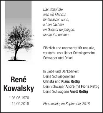 Traueranzeige René Kowalsky