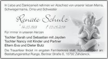 Traueranzeige Renate Schulz