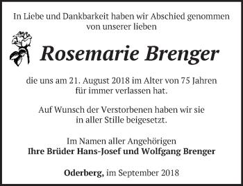 Traueranzeige Rosemarie Brenger