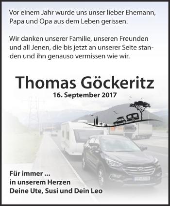 Traueranzeige Thomas Göckeritz