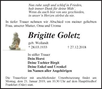 Traueranzeige Brigitte Goletz