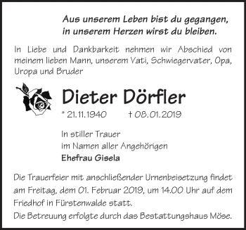 Traueranzeige Dieter Dörfler