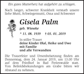 Traueranzeige Gisela Palm