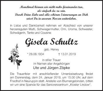 Traueranzeige Gisela Schultz