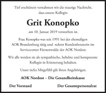 Traueranzeige Grit Konopko
