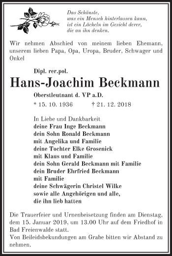 Traueranzeige Hans-Joachim Beckmann