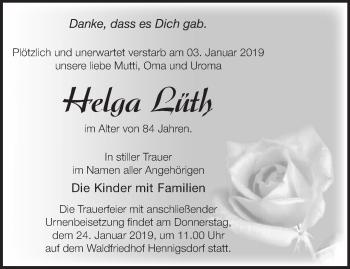 Traueranzeige Helga Lüth