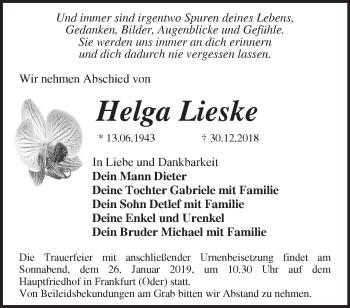 Traueranzeige Helga Lieske