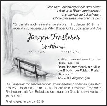 Traueranzeige Jürgen Fensterer