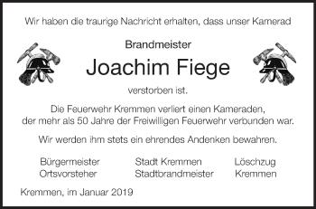 Traueranzeige Joachim Fiege