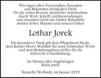 Traueranzeige Lothar Jorek