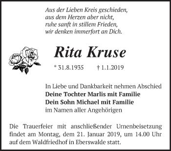 Traueranzeige Rita Kruse