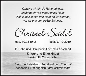 Traueranzeige Christel Seidel