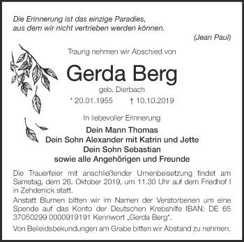 Traueranzeige Gerda Berg