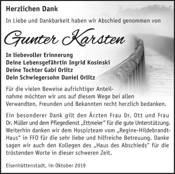 Traueranzeige Gunter Karsten