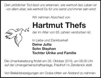 Traueranzeige Hartmut Thefs