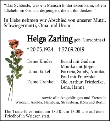 Traueranzeige Helga Zarling