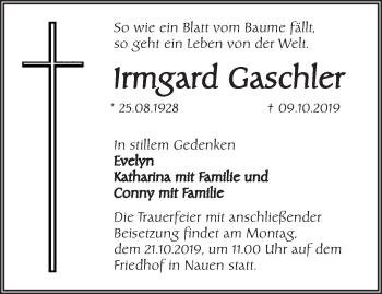 Traueranzeige Irmgard Gaschler